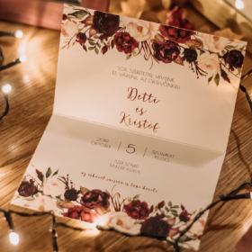 Bordó álom esküvői meghívó