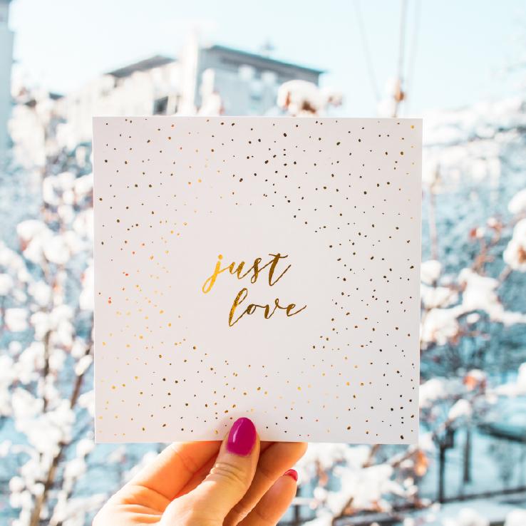 Just love csillogó képeslap