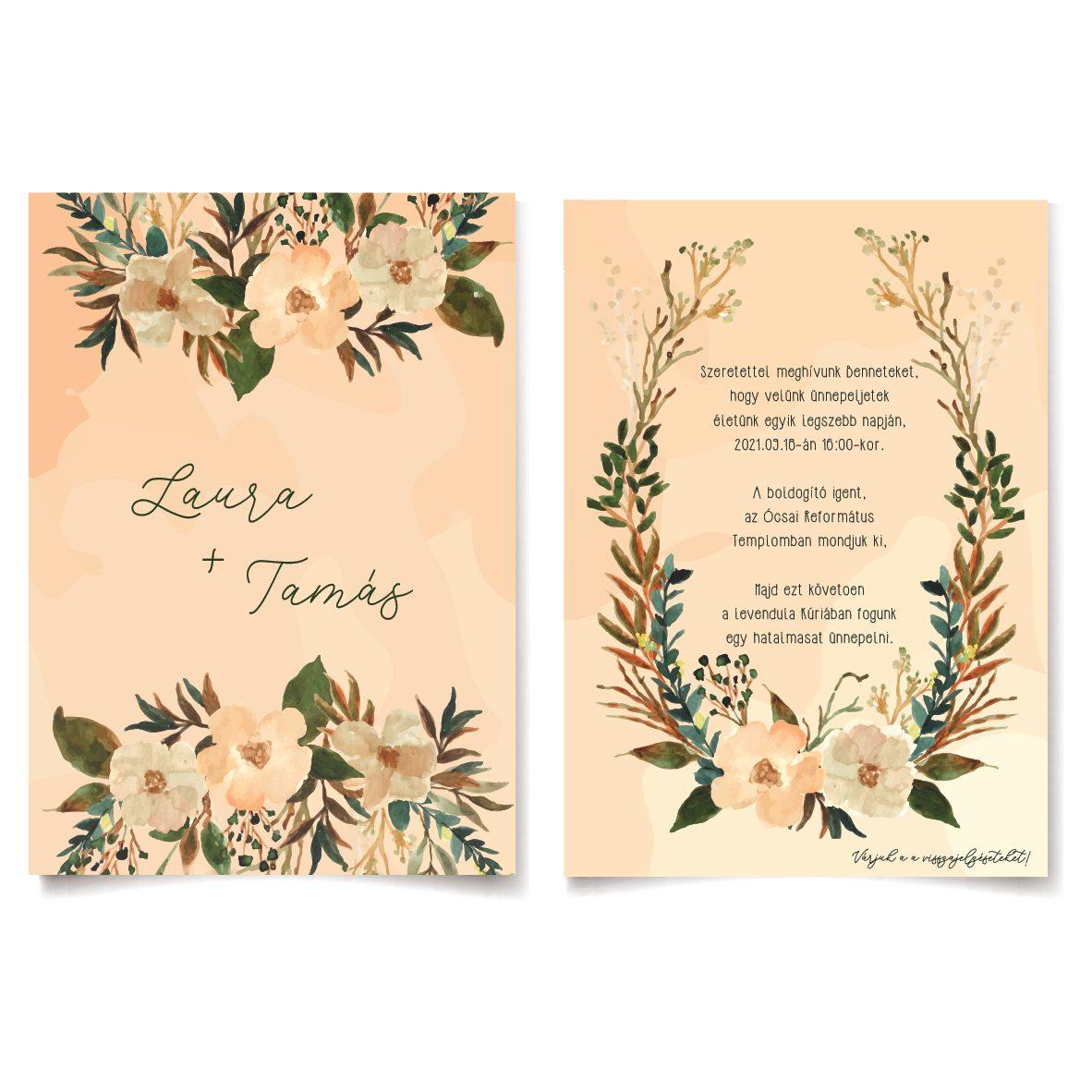Erdei virág esküvői meghívó